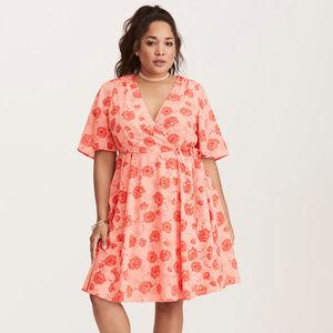 Floral Print Georgette Wrap Dress